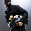 Bank robber in a mask with stolen money - Stock Photo