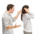 Relationship conflict - Young woman gets earful from an annoyed - Stock Photo