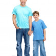 Happy father and his son holding hands on white - Stock Photo