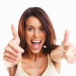 Royalty-Free Stock Photo: Young female teenager express happiness with thumb up sign