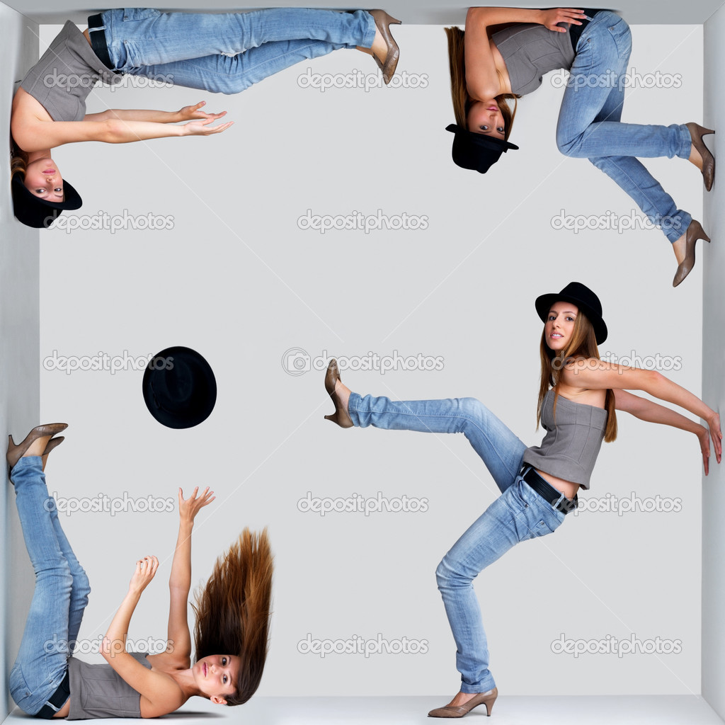 Collage of a young woman in different poses inside a square against grey background  Stock Photo #7720655