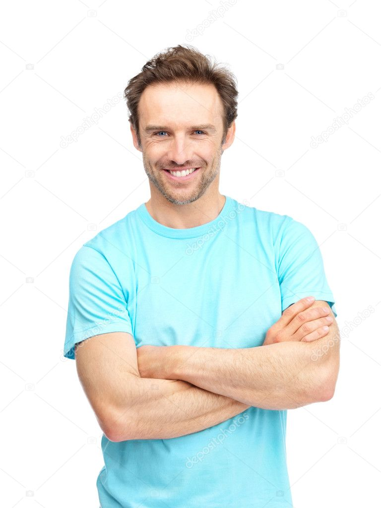 Portrait of a happy mature man standing with folded hands on isolated background — Stock Photo #7721591