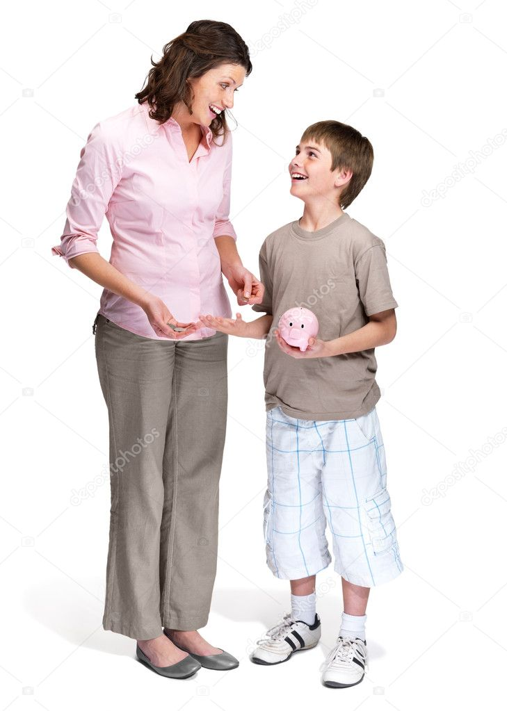 Portrait of a caring mother teaching her son to save money in piggybank  over white background — Stock Photo #7722091