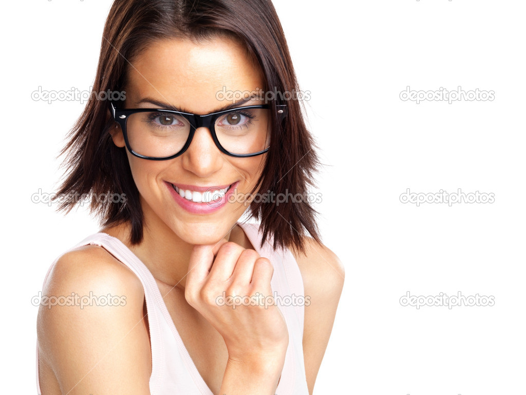 Portrait of a beautiful young woman wearing glasses against white background — Stock Photo #7722868