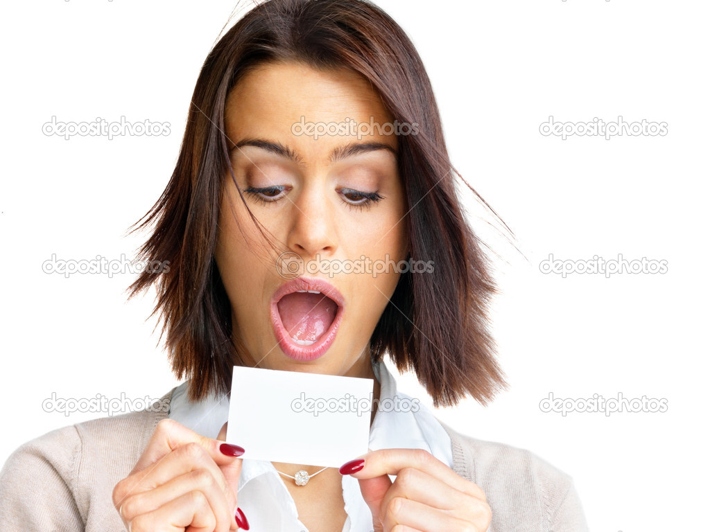 Portrait of a surprised young woman looking at a blank card  isolated over white background — Stock Photo #7722976