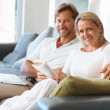 Royalty-Free Stock Photo: Smiling mature couple reading a book and using laptop at home