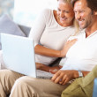 Royalty-Free Stock Photo: Cheerful mature couple looking at laptop screen on couch at home