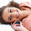 Musing while on the phone - Stock Photo