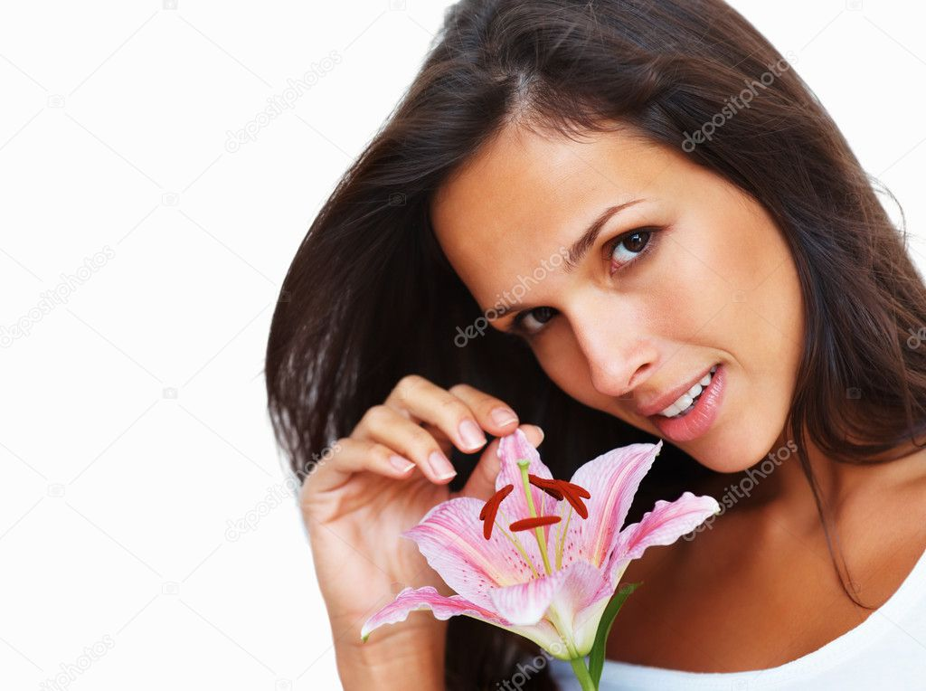 Head shot of woman touching petals of a flower against white background — Stock Photo #7744328