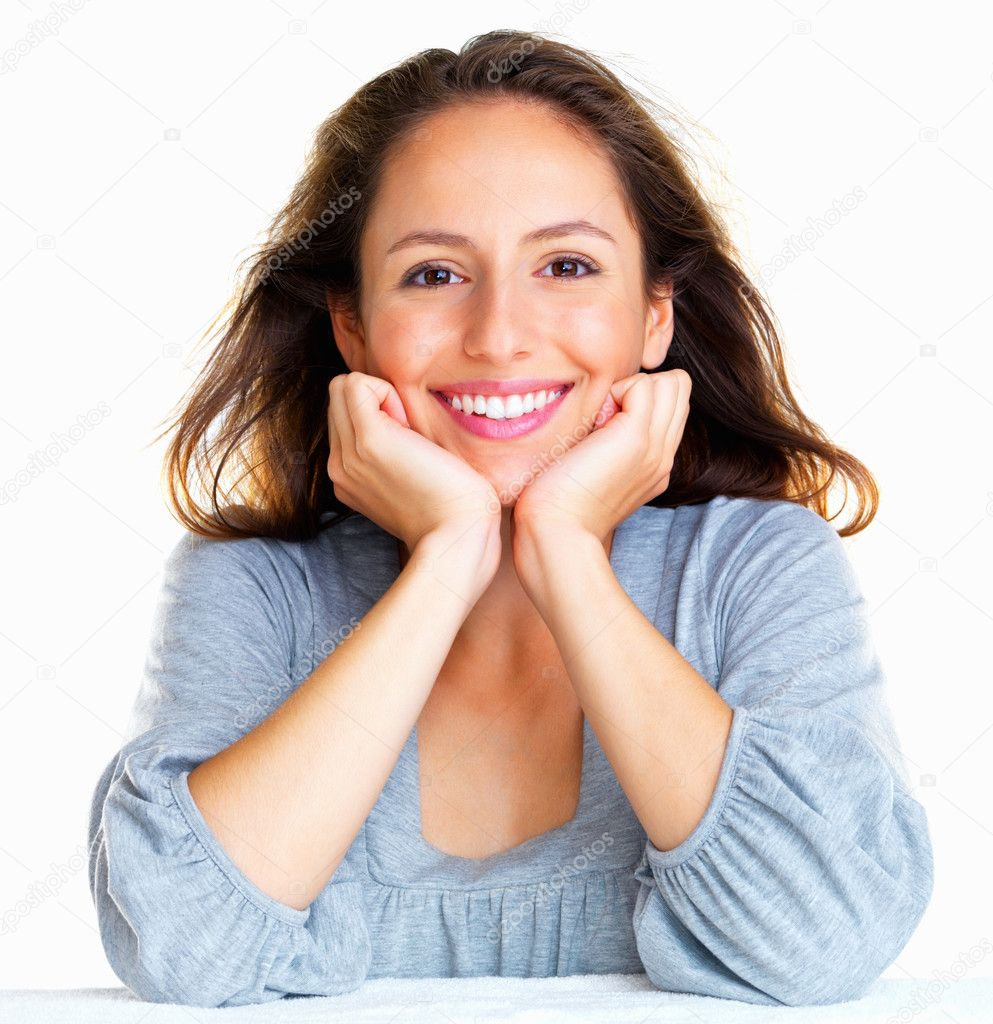 Woman resting her face in her hands — Stock Photo #7745311