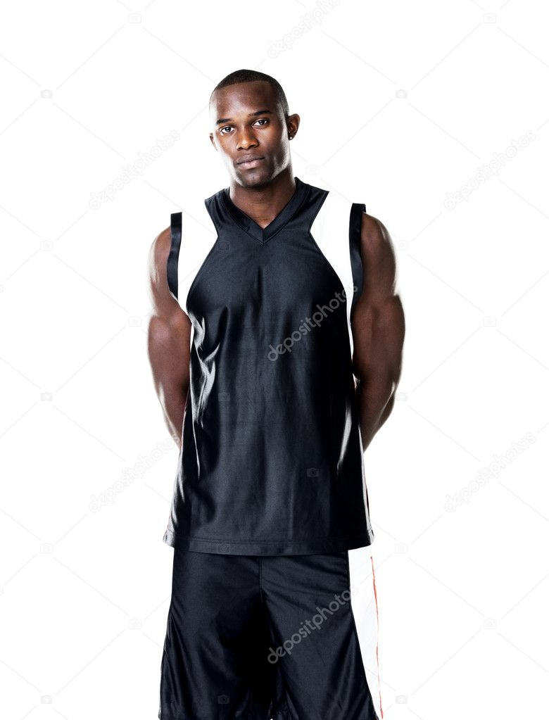 Portrait of a handsome young male sportsperson standing against white background — Stock Photo #7759468