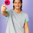 Romantic man holding out flower - Stockfoto