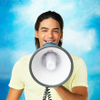 Man making an announcement - Stockfoto