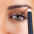 Lovely young lady applying eyeliner - Stock Photo