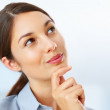 Cute businesswoman daydreaming - Stock Photo