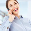 Friendly conversation on cellphone - Stock Photo