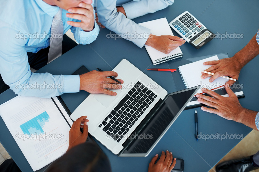 Cropped image of group of businesspeople working together in office - Consulting — Stock Photo #7787741