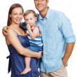 Happy young family on white background - Stock Photo
