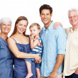 Beautiful extended family portrait on white - Stock Photo