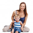 Young mother and small son spending time together - Stock Photo