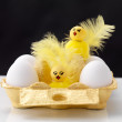 Easter concept - Cardboard container with eggs and decorative to - Stok fotoğraf