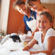 Family enjoying dishwashing - Stockfoto