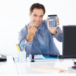 Confident manager showing a calculator to you - Stok fotoğraf