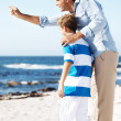 Royalty-Free Stock Photo: Father showing something to his son at the sea shore