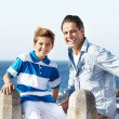 Happy father and son enjoying their summer vacation - Stock Photo