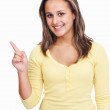 Teenage girl with hand gesture on white background - Foto Stock