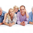 Royalty-Free Stock Photo: Happy family together lying on the floor