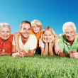 Royalty-Free Stock Photo: Portrait of happy family relaxing on grass