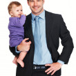 Smiling business man with his baby - Stock Photo