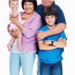Happy grandparents and grandchildren - Stock Photo