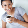 Woman having coffee - Stock Photo