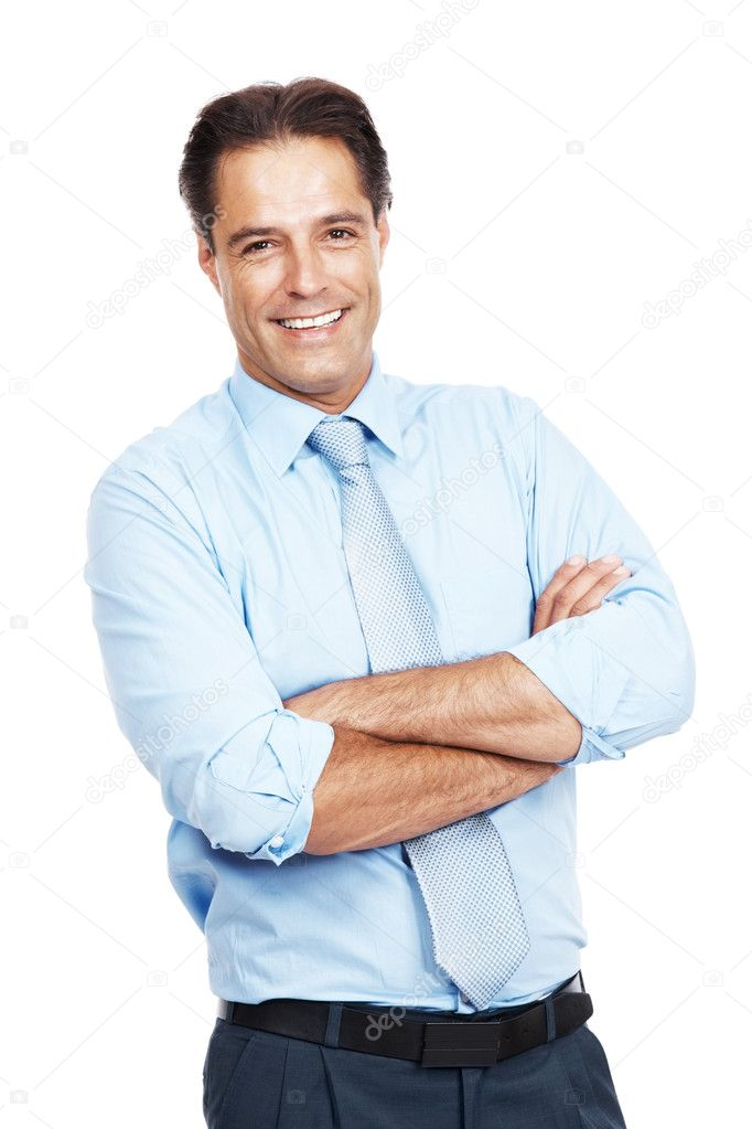 Portrait of a  smart young businessman standing with folded hands isolated against white background — Stock Photo #7842277