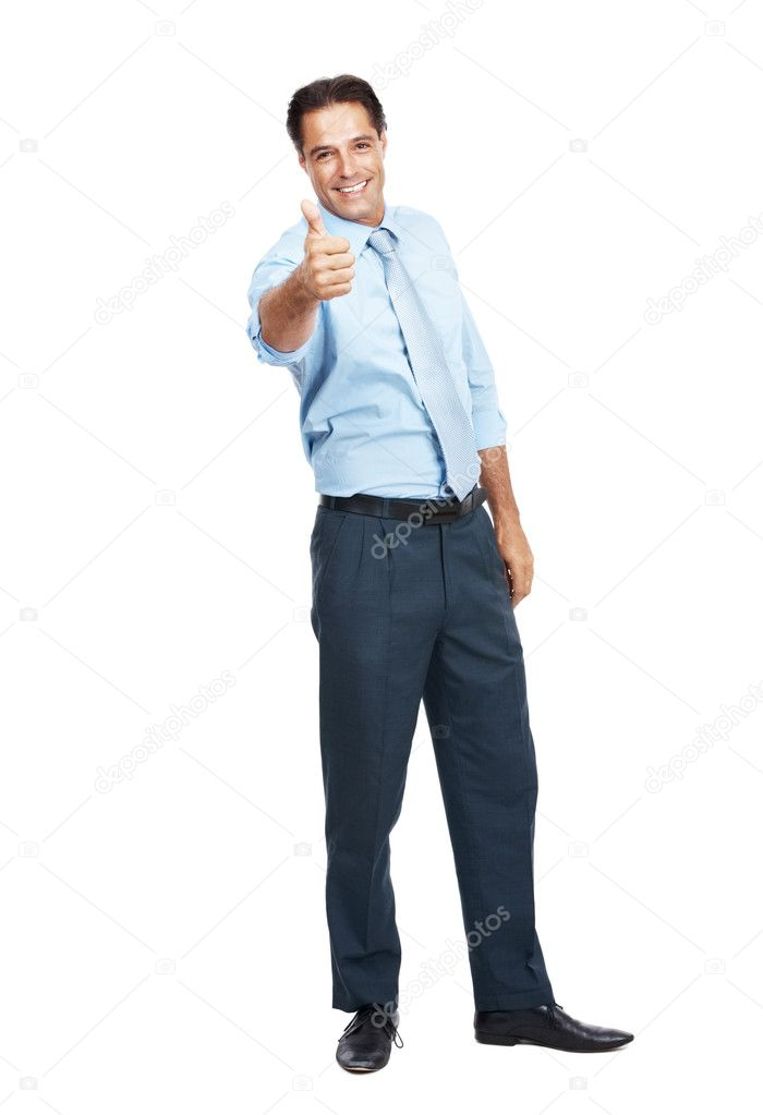 Portrait of a happy young male business executive gesturing thumbs up sign over white background — Stock Photo #7842280
