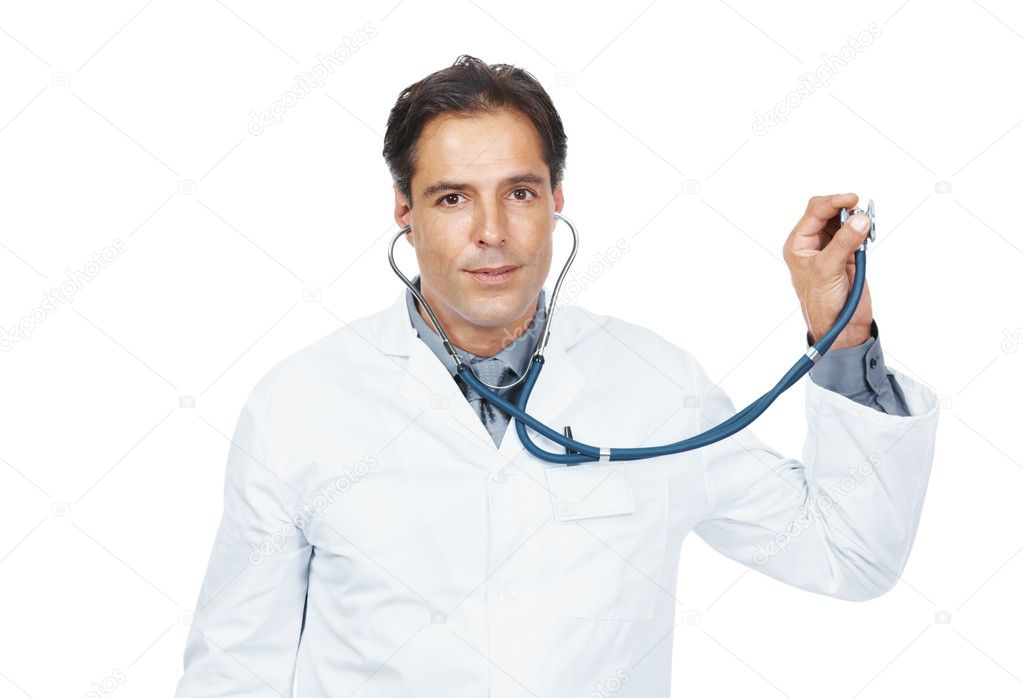 Portrait of mature physician examines something with stethoscope on white background — Stock Photo #7842466