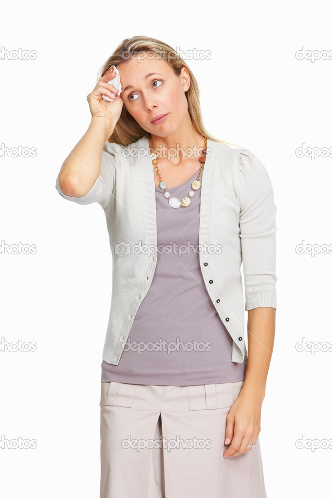 Stressed out business woman having headache on white background — Stock Photo #7845845