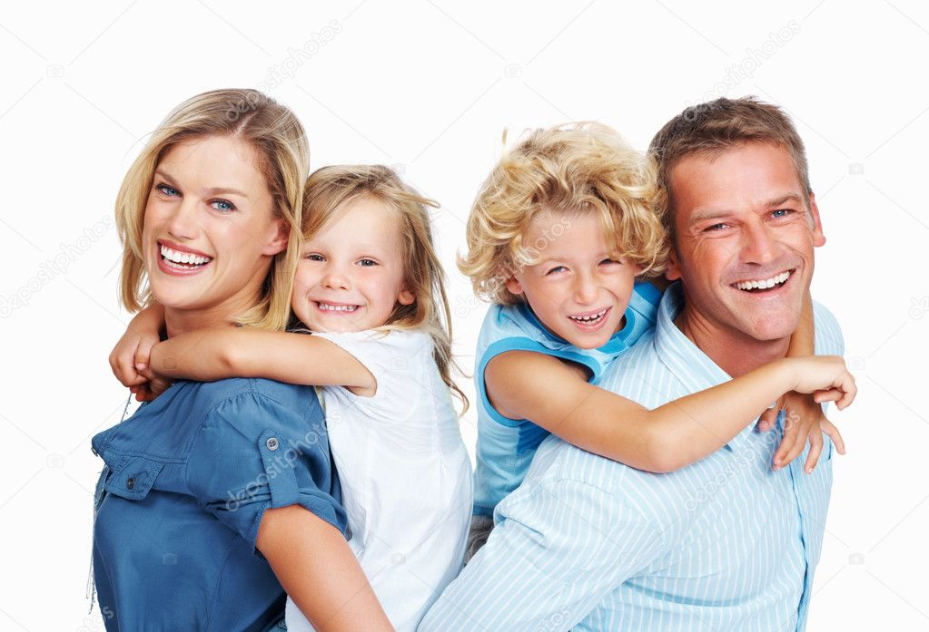 Portrait of happy couple smiling with cute kids on white background — Stock Photo #7849921