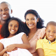 African American family of four smiling together - Stock Photo