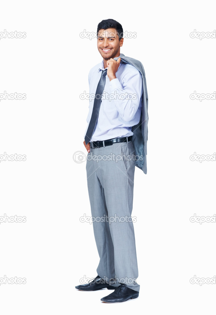 Full length of smart male professional smiling over white background  Stock Photo #7851902