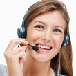 Beautiful telephone operator - Stock Photo