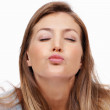Woman blowing kiss - Stock Photo