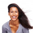 Young woman fashion model with blown hairs - Stock Photo