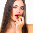 Royalty-Free Stock Photo: Sensuous woman eating strawberry