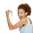 Overjoyed young woman discovered the key to success - Stock Photo