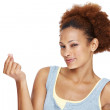 Afroamerican young woman gesturing a little bit - Stock Photo