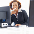 Happy customer service operator - Stock Photo