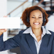 Royalty-Free Stock Photo: Woman holding blank card